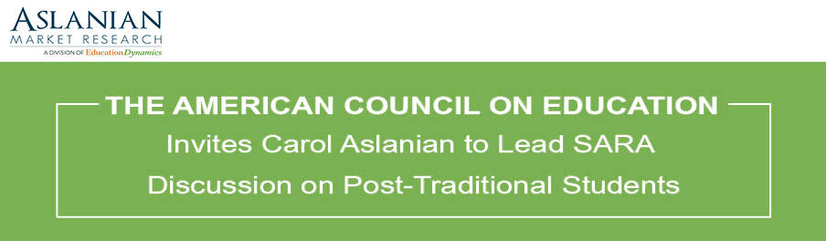Carol Aslanian to Lead the American Council on Education's SARA Discussion on August 24th